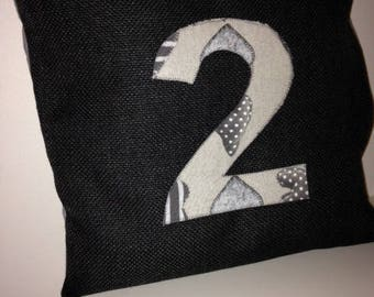 "Charcoal gray pillow cover applique ""2"""