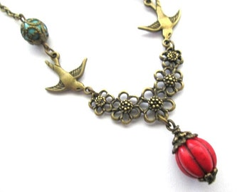 Red melon bead necklace jewelry, antique bronze brass sparrow necklace, red flower necklace