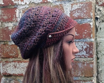 Brown hat with buttons .Brown hat . Newsboy hat with buttons . Slouch beanie . Crochet hat . Peaked hat , Brown newsboy hat .