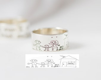 Kid Drawing Ring in Sterling Silver • Children Drawing Ring • Custom Men Band • Wedding Band • Father Gift • Uncle Gift • RM23