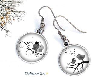 couple of love birds, surgical steel hooks resin cabochon earrings ref.125