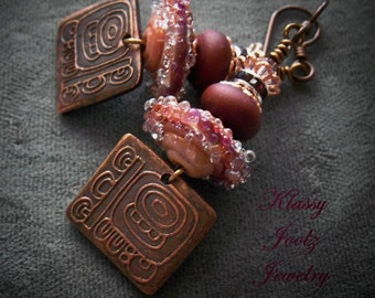 Copper Handmade Tribal Charms and Glass Lampwork Beaded Earrings-Artisan Lampwork Earrings-PMC Earrings-Tribal-Bohemian Earrings-SRAJD