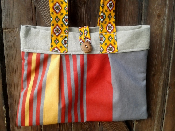 Orange Stripes Purse - French Handmade - Provence Cotton Fabric Lined - Wood Button Closure - Double Handles #SophieLadyDeParis