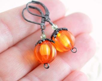 Halloween Earrings, Pumpkins, Bright Orange Lucite Beads, Peridot Swarovski Crystal, Black Gunmetal, Leverbacks, Autumn Jewelry