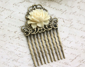 Set of Three, Wedding Combs, 3 Vintage Style Small Roses Flower Art Nouveau Antiqued Brass Small Filigree Hair Comb. Bridesmaids Gifts Combs