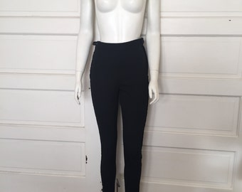 VTG 90s 80s MOSCHINO COUTURE! Black Fitted Skinny Leg High Waisted Velvet Tuxedo Striped Skinny Trousers Pants 8