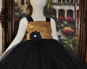 Black Gold Flower Girl Dress, Gold Special Occasion Toddler Infant Dress,Black Gold Baby Dress,Black Gold Tutu Dress