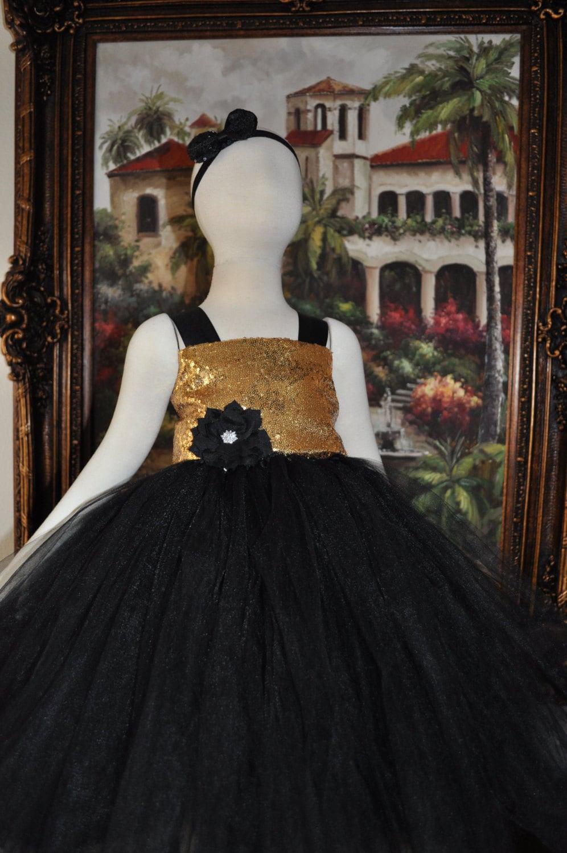 Black Gold Flower Girl Dress Gold Special Occasion Toddler