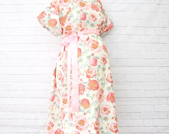 Pink and Ivory Vintage Floral | Pink and Ivory Maternity Hospital Gown | Labor & Delivery Gown | Felicity's Hospital Gown