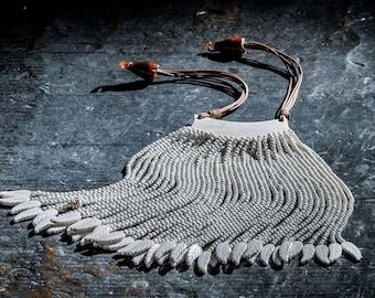Amazing horn and bone fringe statement necklace