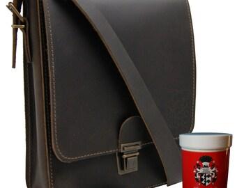 Shoulder bag ARISTOTELES brown genuine leather