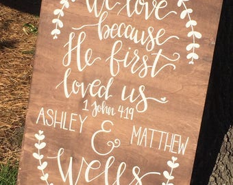 Song of Solomon wedding sign personalized handlettered wood inhabe found the one 1 John 4