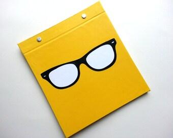 Race Bib Book - Eye glasses - Customized Frame - Gift for Runner Geekery - Nerd - Race Bib Book Hand-bound for Runners Yellow Black frame