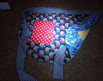 Cherries and Flower reversible half apron