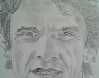 Marc Lavoine portrait in pencil A4 format