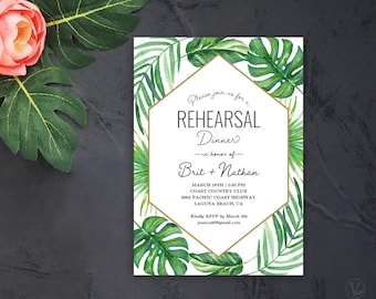 Tropical Wedding Rehearsal Dinner Invitation, Printable Wedding Rehearsal Dinner Invitation Card Template, TROPICAL LUXE