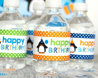 Birthday Penguins Theme Printable Water Bottle Wrappers, Penguins Bottle Labels, Instant Download, Penguin Party Printable Wrapper, Penguins