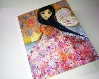Fairy in Pink  - Greeting Card 5 x 7 inches - Folk Art By FLOR LARIOS