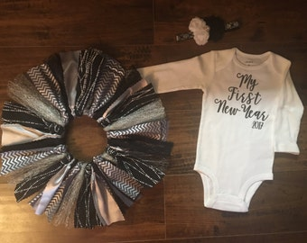 My First New Year, Baby's First New Year, NYE Dress, New Years Eve Dress, Baby Girl New Years Outfit, Shabby Chic New Years
