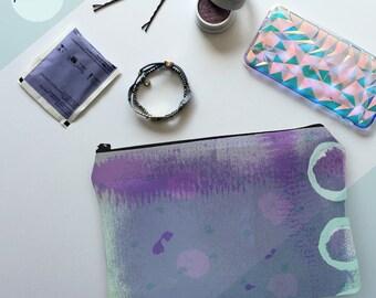 printmaker's pouch, pochette, zipper pouch, clutch, makeup bag, toiletry bag, travel bag, purse, screen print, gifts for her, purple, mint