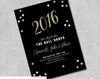New Years Eve Party Invitation - NYE Engagement Party - Confetti - Personalized Printable File or Print Package  -  #00107-CHEERS-PIA7(S)