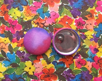 Fabric Button Earrings / Hand Painted / Purple and Pink / Ombre Jewelry / Wholesale Stock / OOAK / Gifts for Her / Stud Earrings