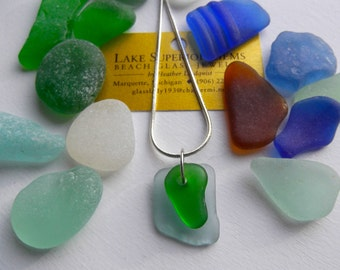 Simple Elegant Layered green and aqua AUTHENTIC Lake Superior Beach Glass Pendant Necklace CHRISTMAS