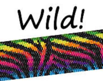 Peyote Pattern Rainbow Zebra Print Beaded Cuff Bracelet Bead Pattern Digital PDF Pattern 2 Drop Peyote