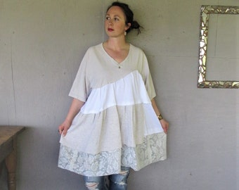 upcycled clothing Romantic Patchwork dress tshirt dress Lagenlook tunic 2 X Wearable Art tunic Gypsy Bohemian sustainable LillieNoraDryGoods