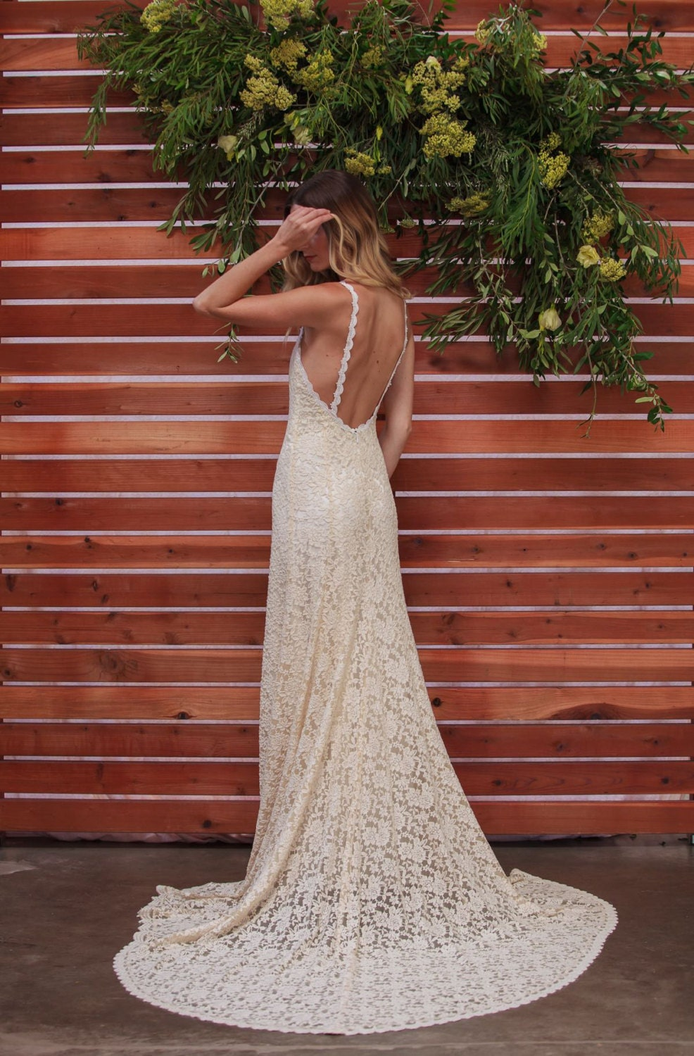 Lace Backless Wedding Dress. Plunge Scallop Front. LOW BACK