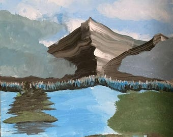 Clouded Mountain - Acrylic Paint (12in x 16in)