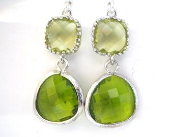 Green Earrings, Peridot Earrings, Apple Green Earrings, Silver Green Apple, Wedding, Bridesmaid Earrings, Bridal Jewelry, Bridesmaid Gifts