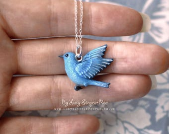 Hand Sculpted Mountain Bluebird Pendant with Chain