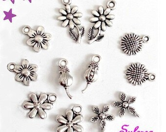 set 12 19-12mm mixed flower charms / 6 models of different sizes Tulip Daisy sunflower silver metal