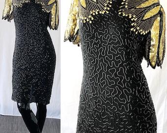 Sequin Silk Dress Lawrence Kazar Beaded Silk Gold Leaf Disco Party Evening