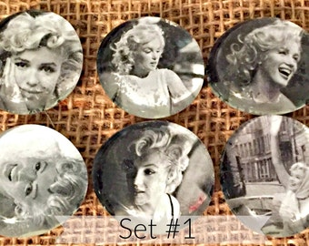 Recycled Glass Bubble Magnets-Marilyn Monroe (Ready to Ship)