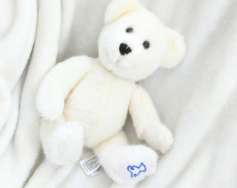 Vintage White Teddy Bear Plush - Cute Stuffed Animals for Girls or Boys - Sweet Cuddly Bear - Kawaii Vintage - Gift for Little One - Decor