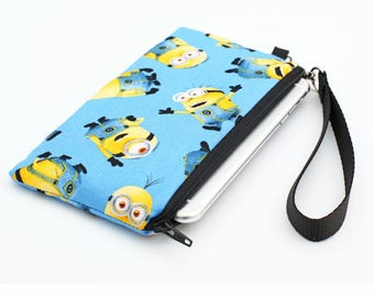 Phone Wallet, Samsung Galaxy S8 Purse, iPhone 8 Plus Case, Phone Wallet with Removable Strap, Smartphone Wristlet - Minions in blue