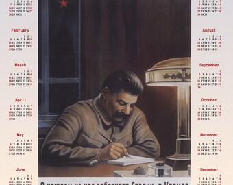 1940 Stalin Soviet propaganda Stalinism poster + Calendar 2018