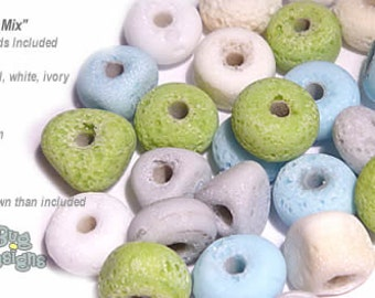ACCENT Handmade Lampwork Beads 15 Spacers Ancient Aqua Lime Pearl White Ivory  Mix by DesertBug Designs