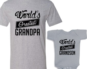 World's Greatest Grandpa - World's Greatest Grandson HEATHER Matching Shirt Set