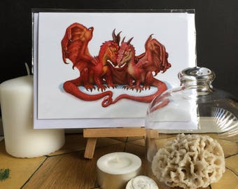 Together Dragon Couple Greeting Card Blank Inside