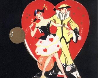 Vintage Valentine Tally Card Masquerade Pierrot