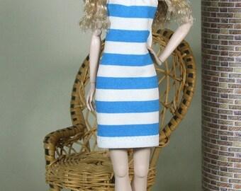 "Fashion Doll Kleid ""to the beach"" - blau"