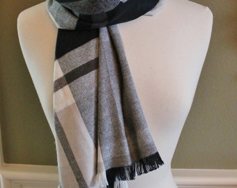 Black and White Plaid Flannel Scarf