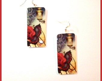 """Earrings Red Rose Black and Red Butterfly Design Polymer Clay 1""""W x 2"""" L. Image Transfer Technique Hand Crafted Resin Finish Art Earrings"""