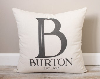 Last Name Pillow |  Wedding Gift for Couples | Monogrammed Pillow | Personalized Pillow | Wedding Gift Pillow | Initial with Last Name
