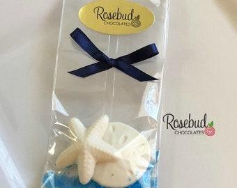 12 STARFISH & SAND DOLLAR Chocolate Candy Party Favors Nautical Beach Wedding Birthday Anniversary