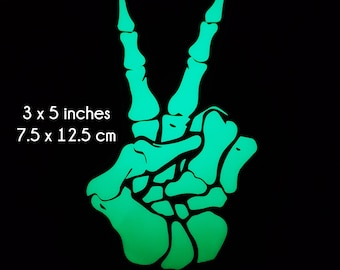 Peace Sign Skeleton Hand - 3 x 5 Inch -  Glow in the Dark Decal / Sticker