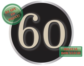 60 Typewriter Key Cake Topper Printable Large 8 Inch Birthday Anniversary Party Centerpiece Vintage Black Silver Aged Steampunk Number Sign